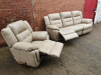 Lazy Boy Leather Reclining Sofa And Chair  • 150£