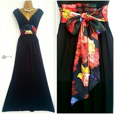 AU13.24 • Buy TED BAKER Size 2 10 12 Pretty Black Floral Maxi Summer Holiday Occasion Dress