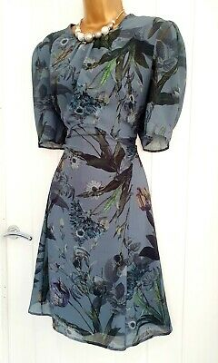 AU1.76 • Buy NEXT Size 14 Multicoloured Blue Floral Summer Holiday Casual Occasion Dress VGC