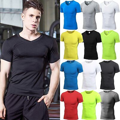 Men Compression Base Layer Short Sleeve T Shirt Sports Stretch Fitness Tops Tee • 11.39£