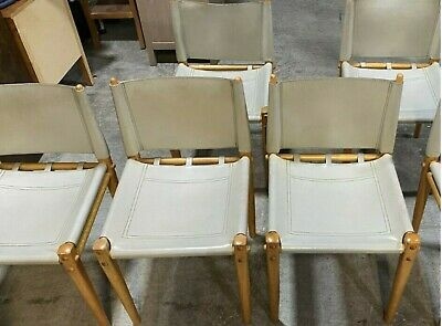 AU1200 • Buy Mid Century Italian Leather Dinning Chairs By Zanotta - PICK UP ONLY