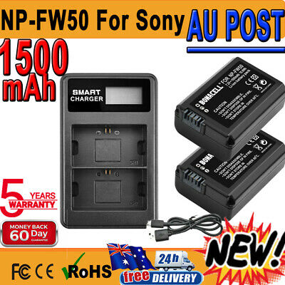 AU28.99 • Buy 2X 1500mAh NP-FW50 Battery + Dual Charger For Sony Alpha A5000 A6300 A3000 A7R P