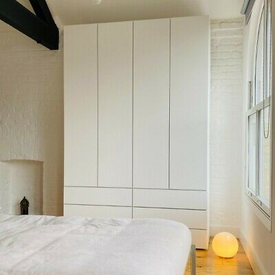 IKEA BESTÅ Wardrobe In Matte White With Hanging Rails And Shelves   RRP £360 • 200£