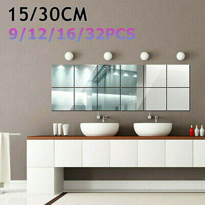 15/30CM DIY Home Decor Mirror Tiles Wall Sticker Square Self Adhesive Sticky Art • 9.35£