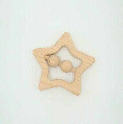 Wooden Star Baby Rattle - Baby Toys - Nursery Decor Accessories - New Baby Gift • 7£
