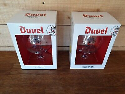 Rare 2 X Duvel Lager Beer NUCLEATED Glasses Glass Stemmed - BOXED & BRAND NEW • 20£