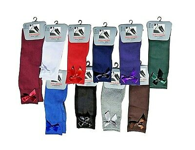 Bow Knee High 3/6 Pairs School Socks - Baby Girls Kids - With All Size & Colour • 4.49£