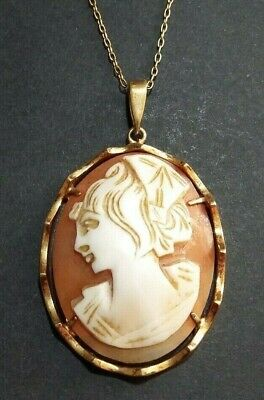£23 • Buy Vintage Large Shell Cameo Pendant On Gold Plated Chain Necklace
