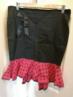 Collectif Pencil Skirt Black With Red Polka Dot Ruffle 50s Style 32 • 4£