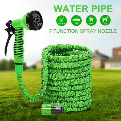 100FT Expandable Garden Hose Pipes Expanding Hose Pipe + Water Spray Gun Green • 14.78£