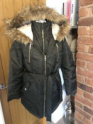 Women's Lipsy From Next Khaki Green Puffa Puffer Parka Fur Jacket Coat Size 12 • 19.99£