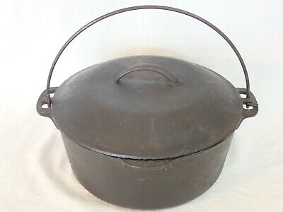 $ CDN17.13 • Buy VINTAGE CAST IRON 5 QUART DUTCH OVEN W/ BAIL HANDLE & 10 1/4 #8 LID