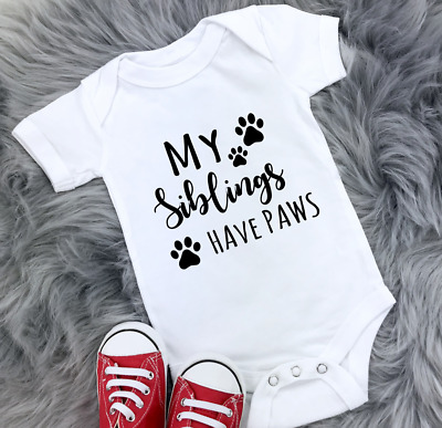 £6.99 • Buy My Siblings Have Paws Baby Vest Grow Bodysuit Pet Gift Dog Reveal Announcement