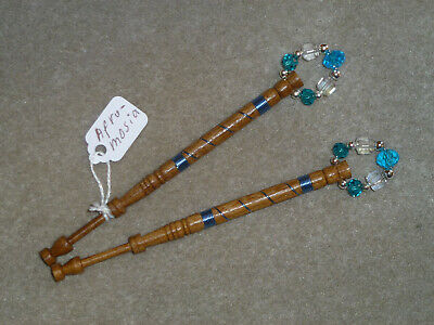 LACEMAKING LACE BOBBINS PAIR AFROMOSIA WOOD - Wired In Light Blue. • 6.50£