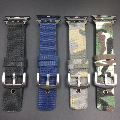 $ CDN11.24 • Buy For Apple Iwatch 5 4 3 2 1 Camouflage Canvas Watch Band Strap 38/40mm 42/44mm