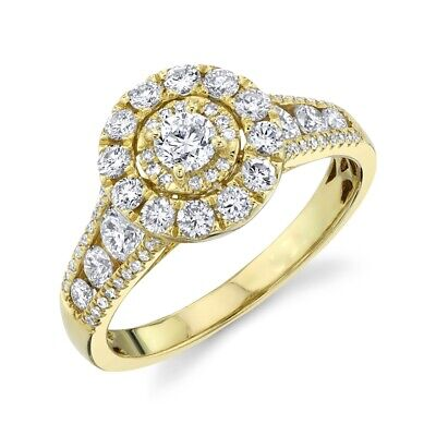 AU4128.06 • Buy 14K Yellow Gold Diamond Halo Engagement Ring Solitaire Natural Round Cut 1.22TCW