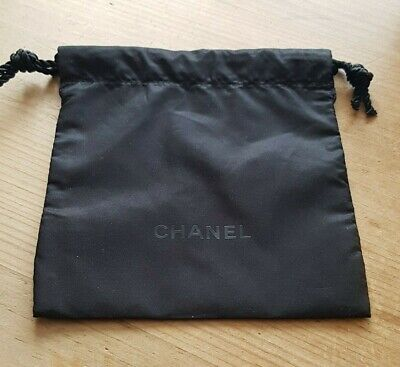 Chanel Black Small String Tie / Drawstring Material Pouch Gift Bag 15cm X 14cm • 3.99£
