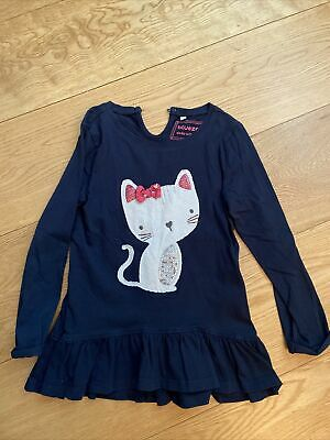 Girls Bluezoo Blue Tunic Dress Cat Sequin Bow Detail Dress Age 5-6, Fits Age 4-5 • 5£