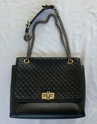 ~$2.5k Lanvin Black Leather Chain Strap Happy Shoulder Bag (forever Classic!) ~ • 268.22£
