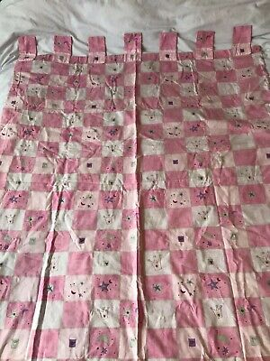 Girls Bedroom Pink Chequered Curtains, Lilac Lining, Tab Top Curtains 57.5  Drop • 8£