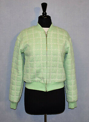 AU168.02 • Buy D0 NEW T ALEXANDER WANG Lime Green Cotton Blend Zip Front Bomber Jacket Size M
