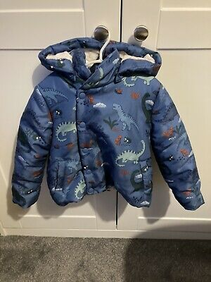 John Lewis Blue Dinosaur Coat, Hood, Quilted, Padded, Pockets, 2-3 Years • 15£
