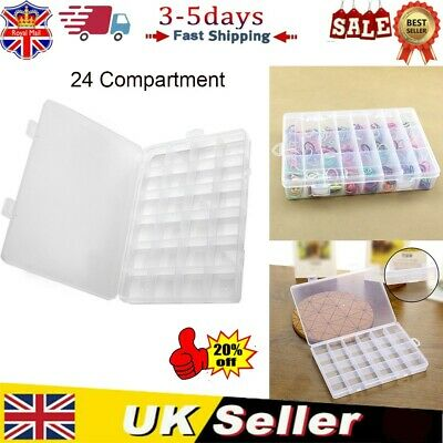 24Compartment Storage Box Jewellery Making Beads Case Container Plastic UK STOCK • 3.99£