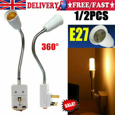 2pcs E27 Screw UK Plug In Light Bulb Base E27 Lamp Switch Socket Holder UK • 7.19£