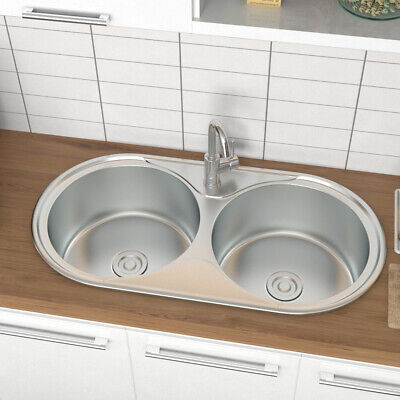 £67.14 • Buy Stainless Steel Double Bowl Sink Round Reversible Insert Kitchen Drainer Waste