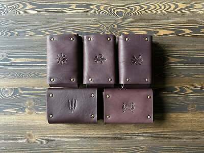 $ CDN185.60 • Buy Set Of 5 Chocolate Leather Pouches Faction Emblems Gwent Decks The Witcher