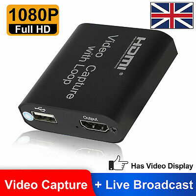 HD 4K 1080P 60fps HDMI Video Capture Card USB 2.0 Mic Game Record Live Streaming • 12.99£