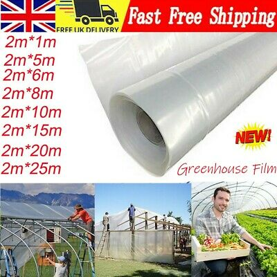 0.02 Mm Greenhouse Polythene Polytunnel Cover Clear Film Sheeting VARIOUS LENGT • 9.35£