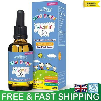 £6.59 • Buy Natures Aid Vitamin D3 Mini Drops For Infants And Children Sugar Free UK 50 Ml