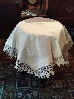 Victorian Lace Edged Table Cloth • 15£
