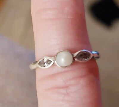 Pandora Silver Ring Size 48. Pearl And Gemstone Ring. Very Dainty. Beautiful ❤ • 12£