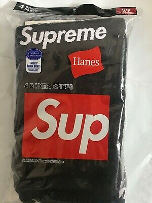 £42.58 • Buy Supreme®Hanes®Boxer Briefs ( 4 Pack) - Black/Small 100% Authentic