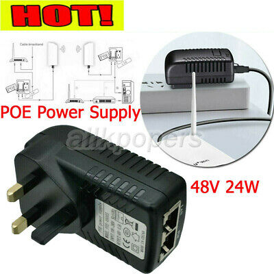 £3.99 • Buy POE Power Supply 48V 24W Power Over Ethernet PoE Injector Adapter UK Wall Plug