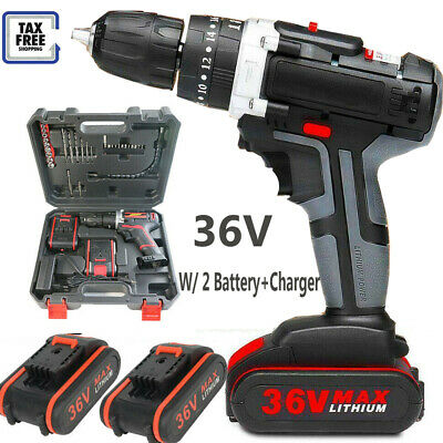 £42.99 • Buy 36V Electric Cordless Hammer Impact Power Drill Screwdriver+ 2 Battery+Charger