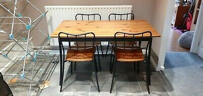 Ikea Pine Dining Table And 4 X Chairs With Black Table/chair Legs And Back Rest • 45£