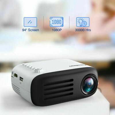 Mini Home Cinema Led HDMI Projector For PC Laptop Iphone Android Smartphone USB • 38.99£
