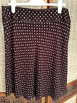 Amaranto Brown And Pink Polka Dot Floaty Skirt Size 14. Great Condition. Lined. • 4£