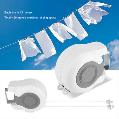 2*13m Retractable Washing Clothes Line Extendable Heavy Duty Automatic Reel Uk • 10.98£