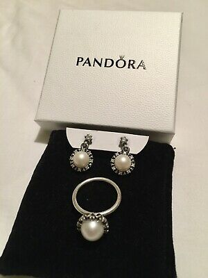 Pandora Silver Pearl Set. Earrings And Ring (58) Boxed. Beautiful And Stylish. • 45£