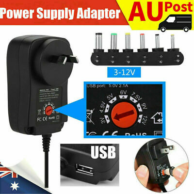 AU15.72 • Buy Adjustable Power Supply Adapter Converter AC DC 30W 3V 4.5V 5V 6V 7.5V 9V 12V PA