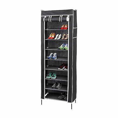 AU47.95 • Buy 10 Tier Shoe Rack With Cover, Holds 27 Pair, Shoe Storage - Black