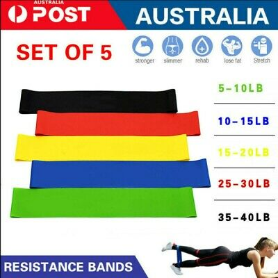 AU13.15 • Buy 5 PCS Resistance Band Set Yoga Pilates Abs Exercise Fitness Tube Workout Bands