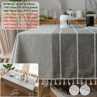 £13.99 • Buy Cotton Linen Tablecloth With Tassel Rectangle Table Cloth Dust Cover New Cover