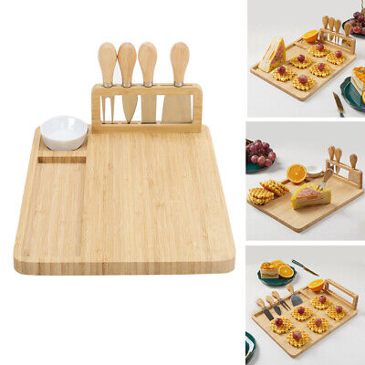 £21.95 • Buy Bamboo Cheese Charcuterie Board Large Cutting Platter With Knife Set For Wedding
