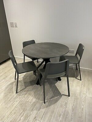 Grey Stylish Round Dining Table And 4 Chairs In Near Perfect Condition • 180£