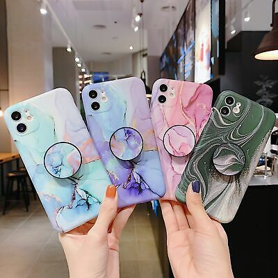AU13.35 • Buy Marble Soft TPU Case With Stand Holder Phone Cover For IPhone 12 11 XS XR 7 8 SE